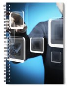 Businessman Touching Screen Button Spiral Notebook