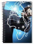 Businessman Touching World Map Screen Spiral Notebook