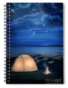 Camping Tent By The Lake At Night Spiral Notebook