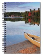 Canoe On A Shore Autumn Nature Scenery Spiral Notebook