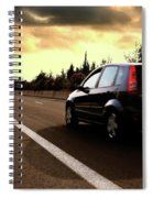 Car On The Road During Sunset Spiral Notebook