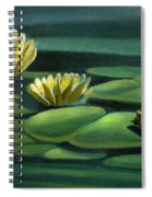Card Of Frog With Lily Pad Flowers Spiral Notebook