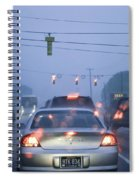 Cars And Traffic Lights In A Rain Storm Spiral Notebook