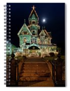 Carson Mansion At Christmas With Moon Spiral Notebook