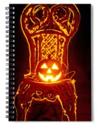 Carved Smiling Pumpkin On Chair Spiral Notebook