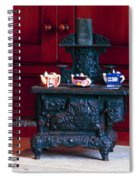 Cast Iron Stove With Teapots Spiral Notebook