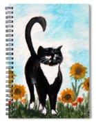 Cat Walk Through The Sunflowers Spiral Notebook
