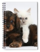 Cavapoo Pup And Blue-point Kitten Spiral Notebook