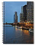 Chicago River At Twilight Spiral Notebook