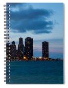 Chicago Skyline And Navy Pier At Dusk Spiral Notebook