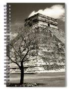Chichen Itza Blk And White Spiral Notebook