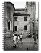 Children At Play In A Venice Piazza Spiral Notebook