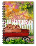 Chilrens Art-boy And Girl With Wagon And Puppies Spiral Notebook