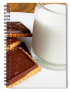 Chocolate Coated Butter Cookies And Milk Spiral Notebook