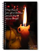 Christmas Candle Peace Greeting  Spiral Notebook