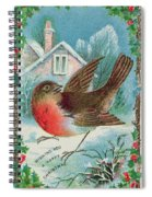 Christmas Card Depicting A Robin  Spiral Notebook