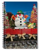 Christmas Snowman On Rails Spiral Notebook