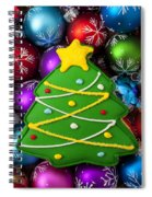 Christmas Tree Cookie With Ornaments Spiral Notebook