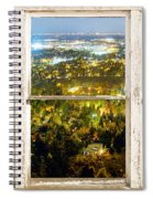 City Lights White Rustic Picture Window Frame Photo Art View Spiral Notebook