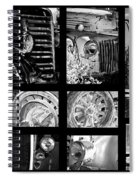 Classic Car Collage In Black And White Spiral Notebook