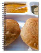 Close Up Of A Plate Of Indian Food Delicacy Kachori With Sabzi And Chutney Spiral Notebook