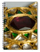 Close Up Of The Middle Pendant Section Of A Green And White Stone Inlaid Necklace Spiral Notebook