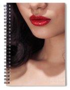 Closeup Of Woman Red Lips Spiral Notebook