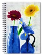 Cobalt Blue Glass Bottles And Gerbera Daisies Spiral Notebook