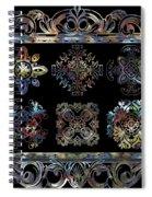 Coffee Flowers Ornate Medallions 6 Piece Collage Aurora Borealis Spiral Notebook