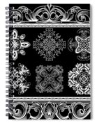 Coffee Flowers Ornate Medallions Bw 6 Piece Collage Framed  Spiral Notebook