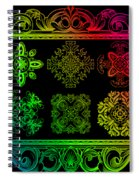 Coffee Flowers Ornate Medallions Color 6 Piece Callage 1 Spiral Notebook