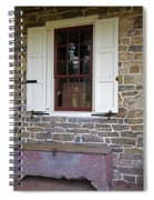 Colonial Shutters Window Frame Stone Wall Wood Box Spiral Notebook