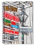 Colorful Neon Sign On Bourbon Street Corner French Quarter New Orleans Colored Pencil Digital Art Spiral Notebook