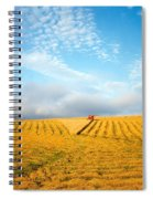 Combine Harvesting A Wheat Field Spiral Notebook
