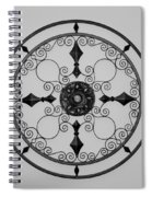 Compass In Black And White Spiral Notebook