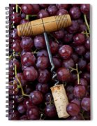 Corkscrew And Wine Cork On Red Grapes Spiral Notebook