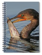 Cormorant With Large Fish Spiral Notebook