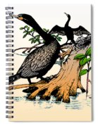Cormorants On Mangrove Stumps Filtered Spiral Notebook