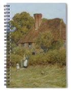 Cottage At Broadham Green Surrey In Sunset Light Spiral Notebook