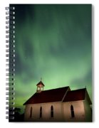 Country Church And Northern Lights Spiral Notebook