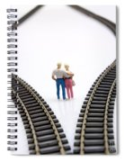 Couple Two Figurines Between Two Tracks Leading Into Different Directions Symbolic Image For Making Decisions Spiral Notebook
