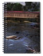 Covered Bridge In The Rain Spiral Notebook