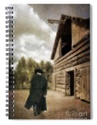 Cowboy Walking By Barn Spiral Notebook