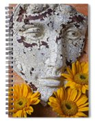 Cracked Face And Sunflowers Spiral Notebook