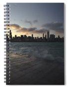 crashing waves at sunset in Chicago Spiral Notebook