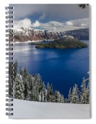 Crater Lake And Fresh Snow Panorama Spiral Notebook