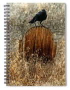 Crow On Old Wooden Grave Spiral Notebook