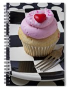 Cupcake With Heart On Checker Plate Spiral Notebook