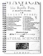 Della Portas Natural Magick, 1658 Spiral Notebook