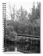 Dock On The River In Black And White Spiral Notebook